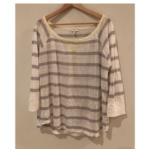 Joie Linen Boatneck Striped Top Size Large